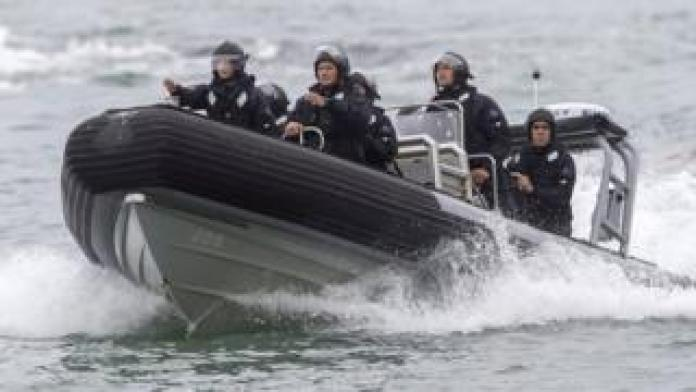 Crew from the HMNZS Wellington return to shore to drop off supplies