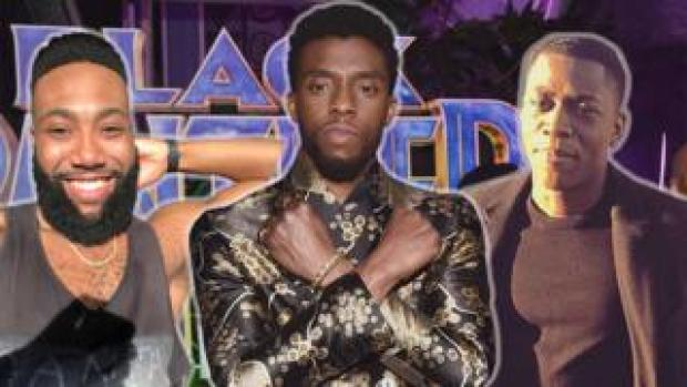 Composite of Black Panther super-fans with Chadwick Boseman