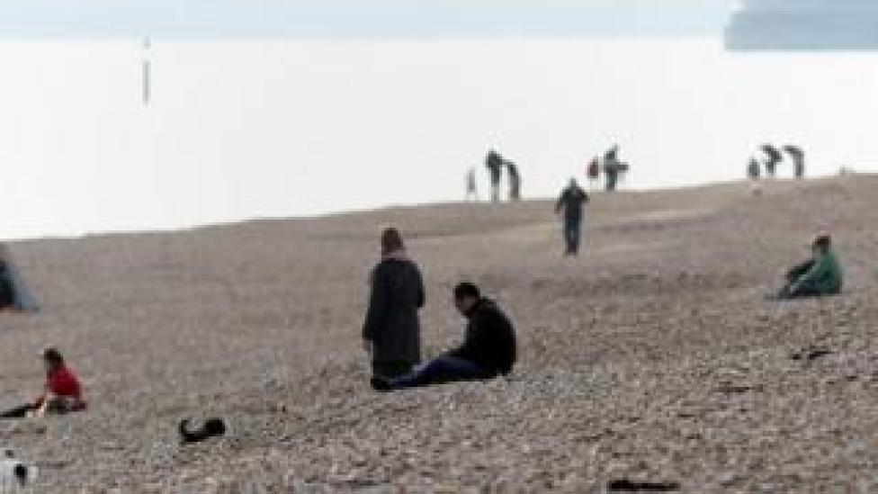 People on Southsea beach