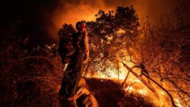 """Firefighters """"back burn"""" in an attempt to contain the Bobcat fire in the Angeles National Forest, near Arcadia, California (13 September 2020)"""