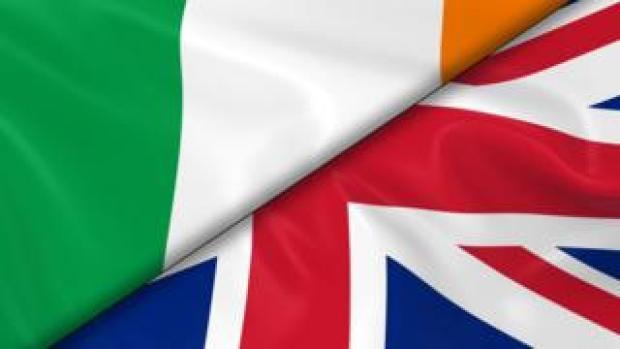 Irish and British flags