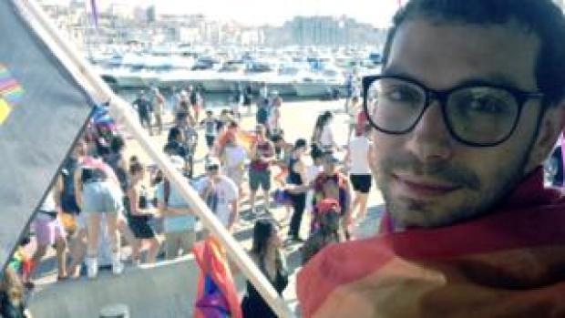 Hadi Damien at Pride March in France