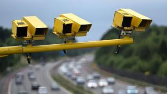 Average speed cameras on a UK motorway