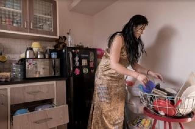 Puja Seth cleaning up at home