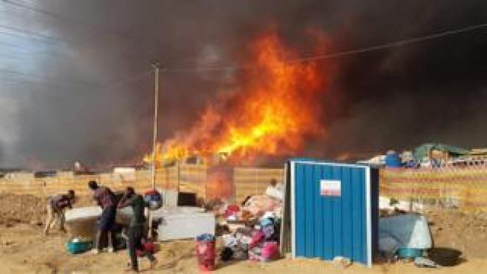 A fire rips through South Africa's Alexandra Neighbourhood.