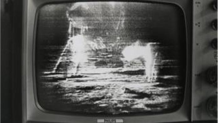 landing on the moon on television screen on the 21st of July 1969