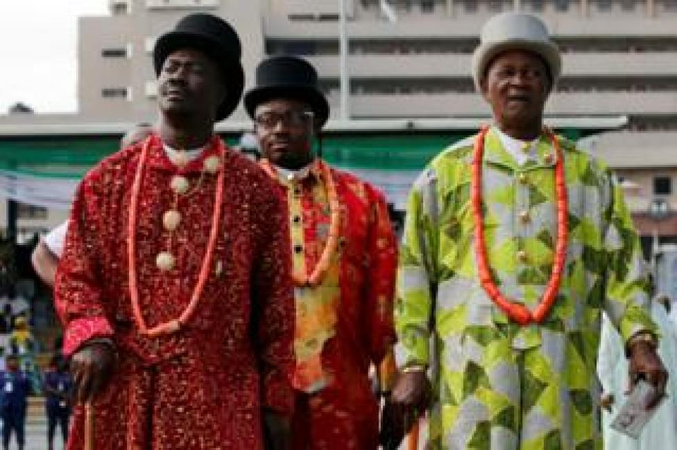 Traditional chiefs from the Niger-Delta region are seen during a celebration marking the new Democracy Day in Abuja on 12 June.