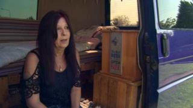 Polly in the van she has lived in for more than a year