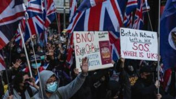 Hong Kong protesters with British flags