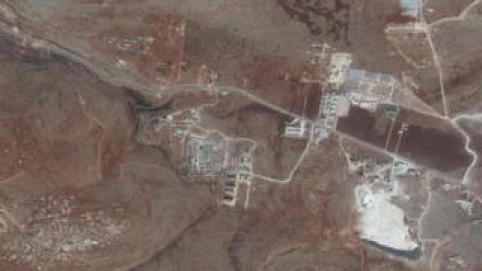 Satellite images from 26 September 2018 showing a camp for displaced people in northern Idlib province, Syria