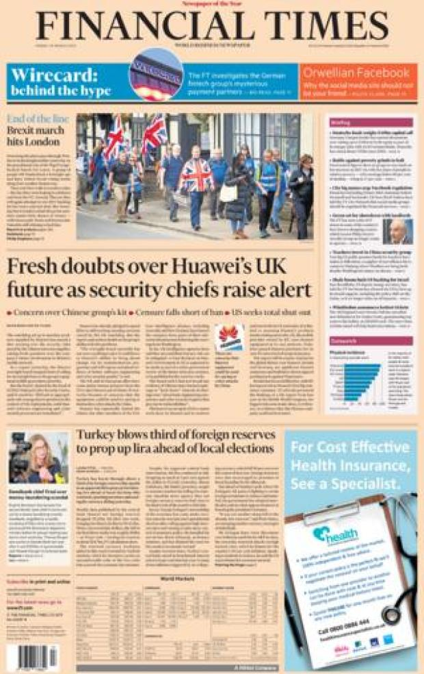 Financial Times front page, 29/3/19