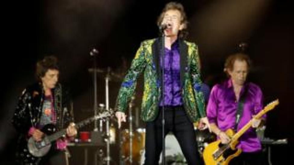 trump Mick Jagger, Keith Richards and Ronnie Wood of The Rolling Stones perform in California, US, 22 August 2019