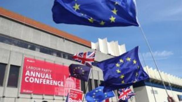 EU flags at Labour Conference