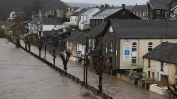 Floodwaters in Pontypridd