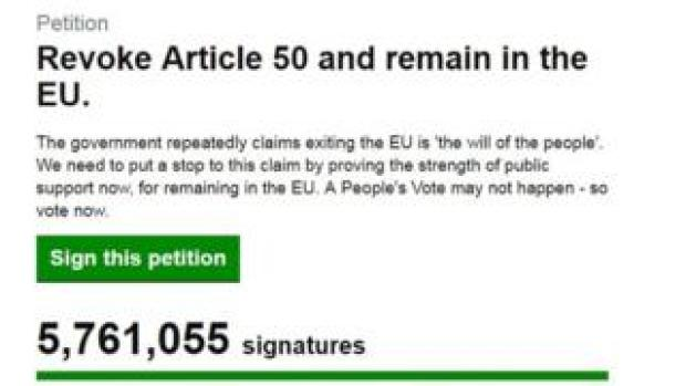 Screenshot of the UK Parliament website page on the revoke Article 50 petition, which has now passed 5.7m signatures