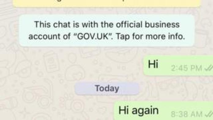 Screenshot of WhatsApp message from government coronavirus bot