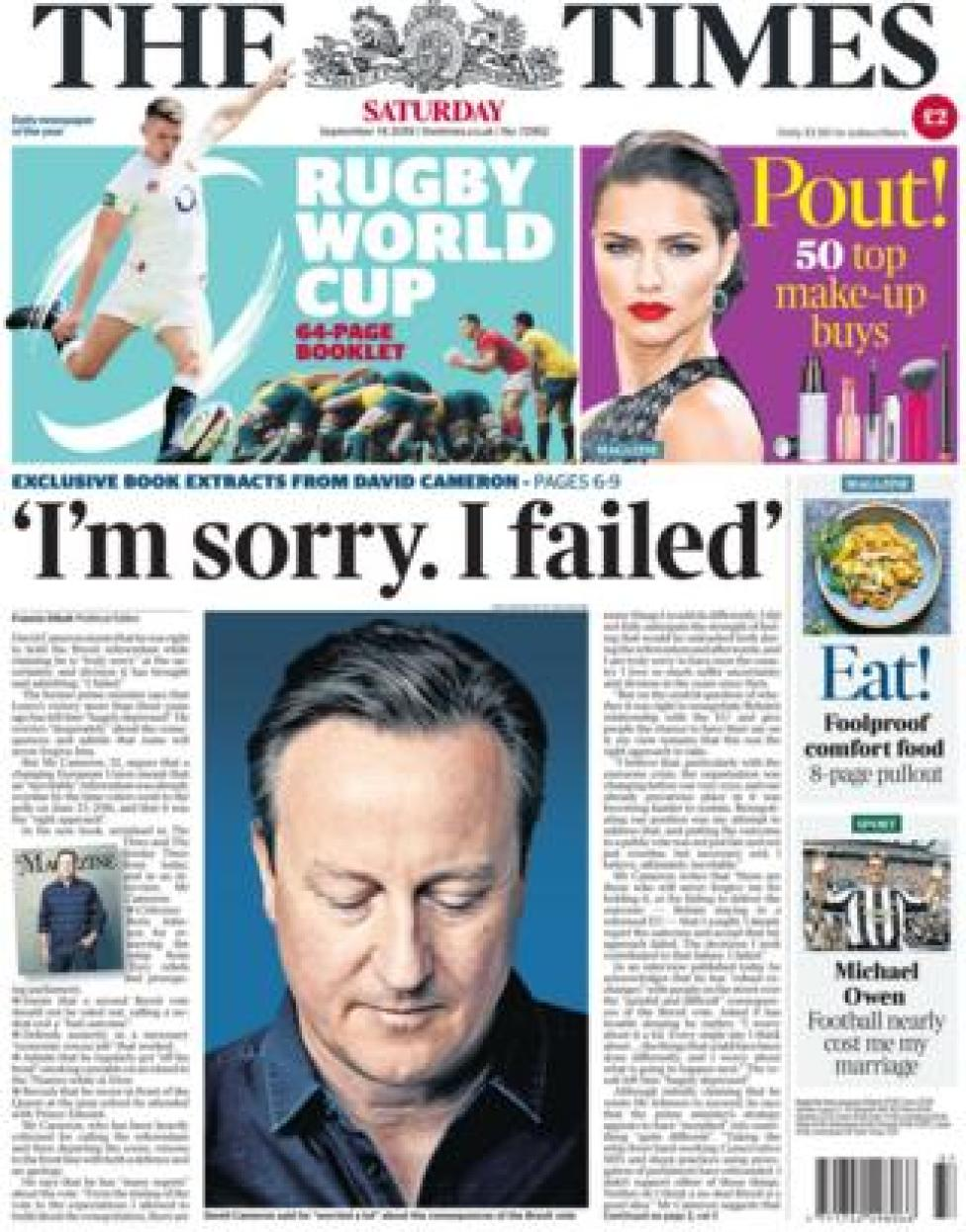 The front page of the Times on 14 September 2019