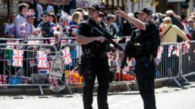 Two armed officers in Windsor