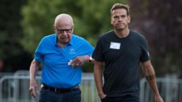 Rupert Murdoch, executive chairman of News Corp and chairman of Fox News, and Lachlan Murdoch, co-chairman of 21st Century Fox