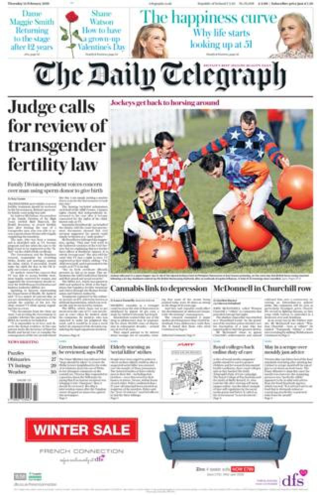 Daily Telegraph front page 14/02/19