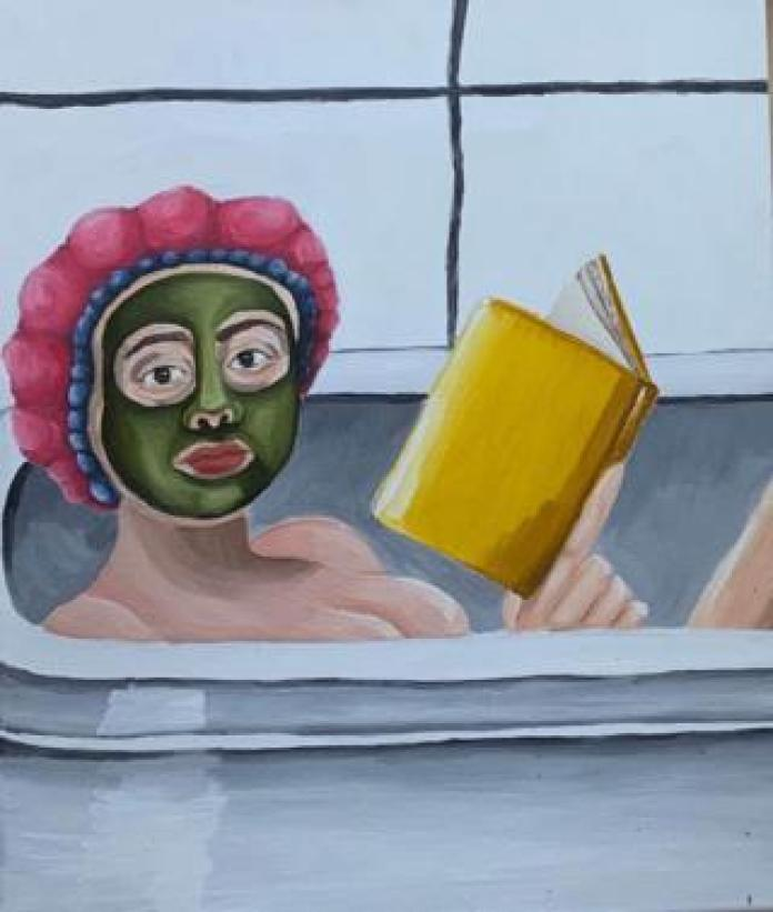 Painting of a woman reading in the bath