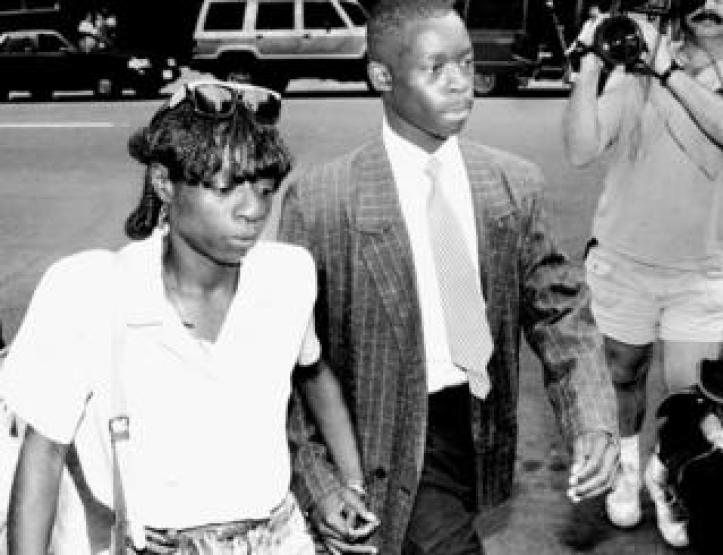 Antron McCray and his mother Linda McCray outside court in July 1990