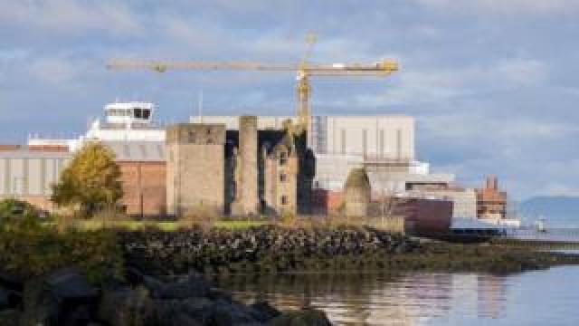 Ferguson shipyard and Newark Castle