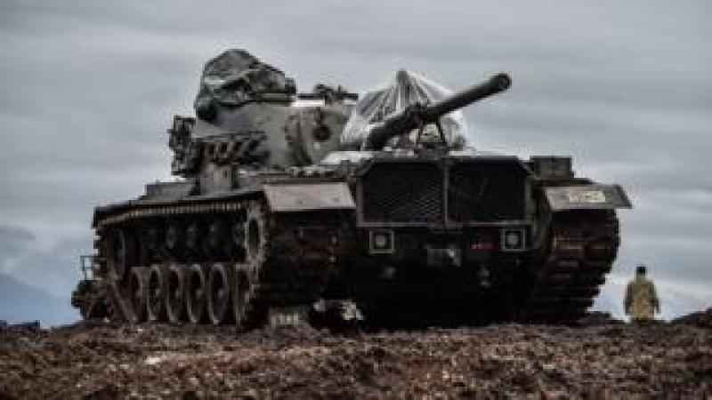 A Turkish tank by the Syrian border in January 2018