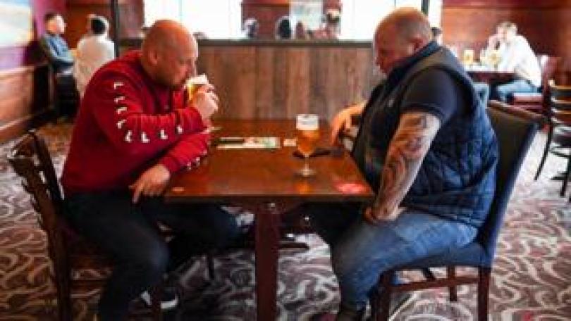 Drinkers in the Job Bulman pub, Newcastle