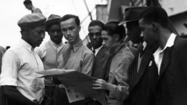 A group of men on board the Empire Windrush