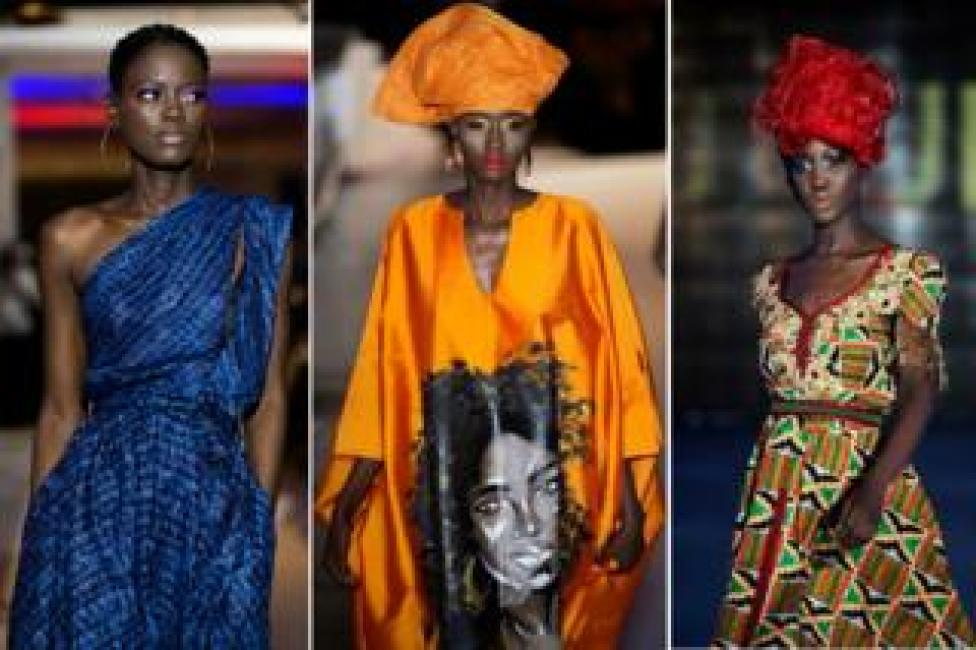 Models take to the catwalk during Dakar Fashion Week in the Senegalese capital.