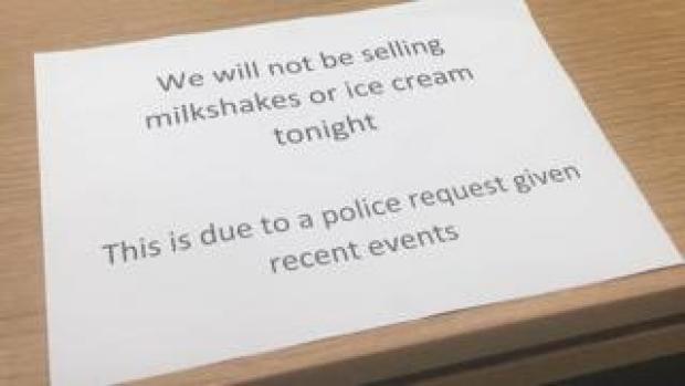 Milkshake ban notice