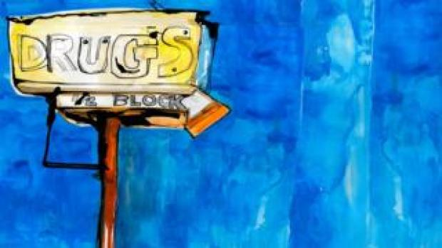 Illustration drug store sign