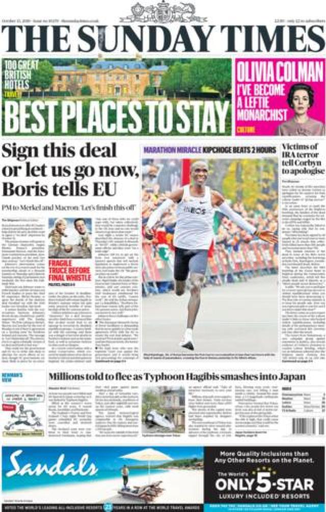 Front page of the Sunday Times on 13 October 2019