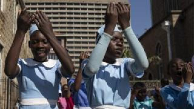 Children attend Sunday School at The Cathedral of the Sacred Heart of Jesus on August 05, 2018 in Harare, Zimbabwe