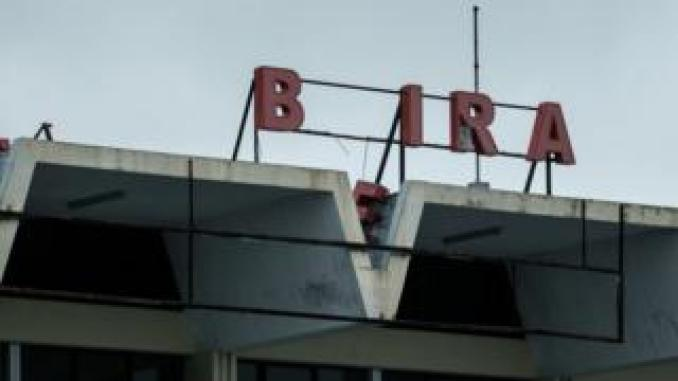 A picture taken on 20 March 2019 shows the letter 'e' ripped away from Beira's international airport.
