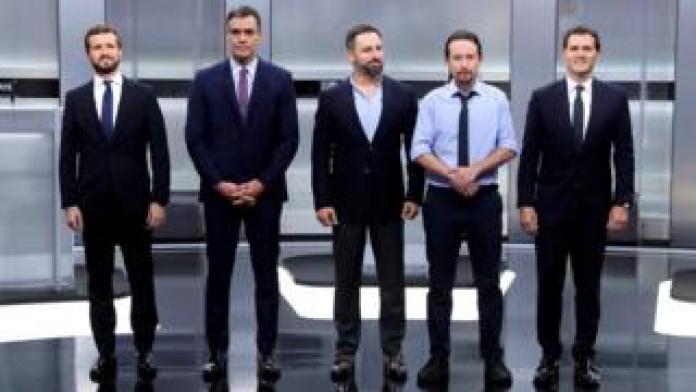 (G-D): Pablo Casado, Pedro Sánchez, Santiago Abascal, Pablo Iglesias and Albert Rivera