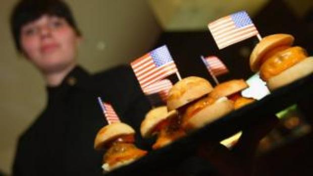Burgers with US flags