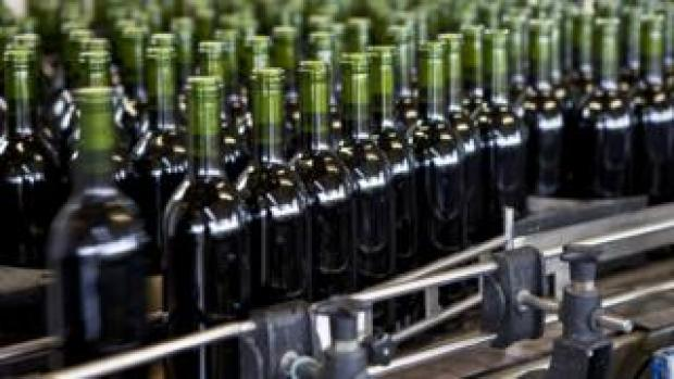 Wine bottles at a factory in France