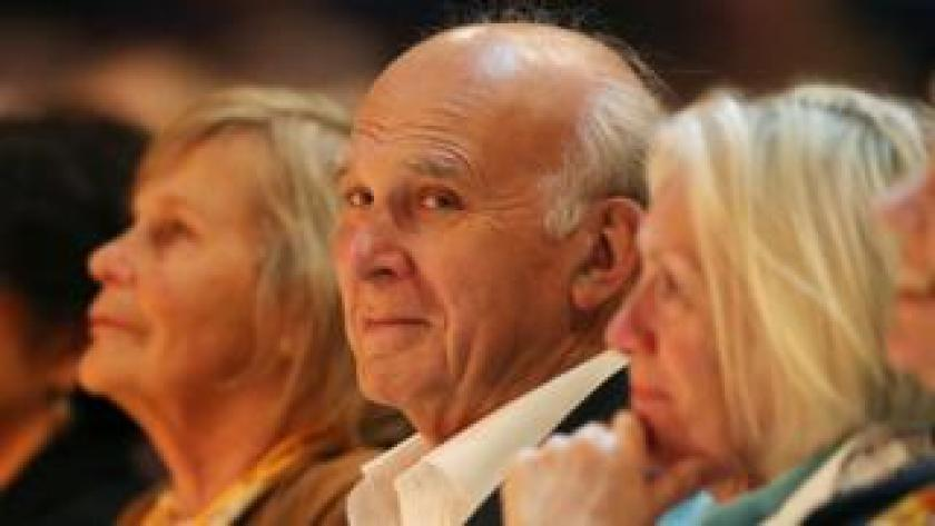 Sir Vince Cable and his wife Rachel Smith (left)