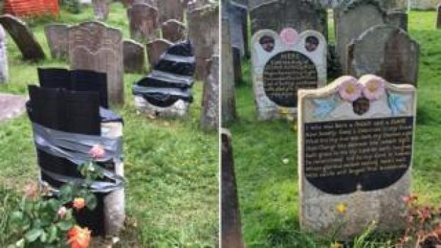 Vandalsied gravestone
