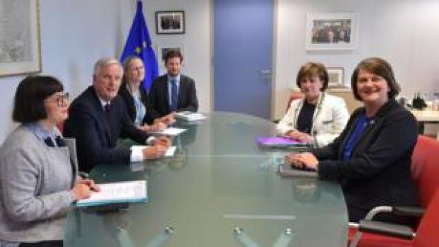 DUP leader Arlene Foster met EU negotiator Michel Barnier on Tuesday