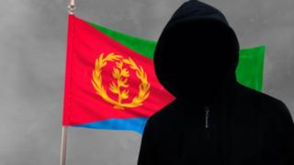 Graphic of mystery man in front of an Eritrean flag
