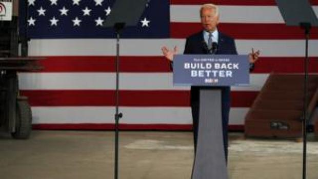 The presumptive Democratic presidential nominee Joe Biden speaks at McGregor Industries in Dunmore, Pennsylvania