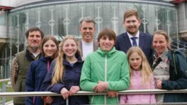 The Wunderlich family and two ADF International employees, pictured outside the European Court of Human Rights in Strasbourg in 2017