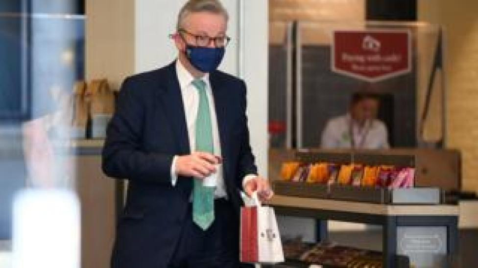 Michael Gove visit a Pret a Manger sandwich shop wearing a face mask on Tuesday