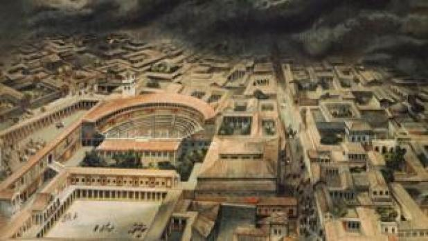 A drawing shows an aerial view of Pompeii, with its amphitheatre and roman housing, as a thick black cloud descends upon the city from the top of the frame.