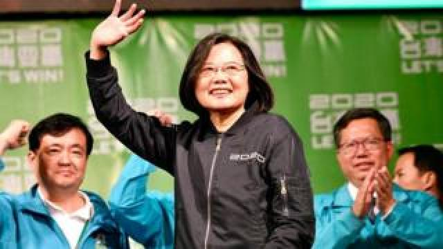 Tsai Ing-wen waves to supporters in Taipei, 11 January 2020