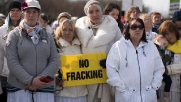 Actress Emma Thompson (centre) takes part in a protest march at the Preston New Road drill site
