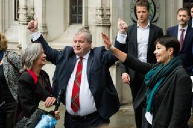 Plaid Cymru MP Liz Saville Roberts, Green Party MP Caroline Lucas and Ian Blackford, leader of the Scottish National Party